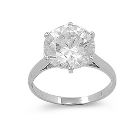 CHOOSE YOUR COLOR Large Round Clear CZ Solitaire Ring Sterling Silver Band (Clear Simulated CZ/Ring Size - Large Spring Ring