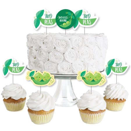 Double the Fun - Twins Two Peas in a Pod - Dessert Cupcake Toppers -Baby Shower or First Birthday Party Clear Treat Pick - Double Nickel Birthday