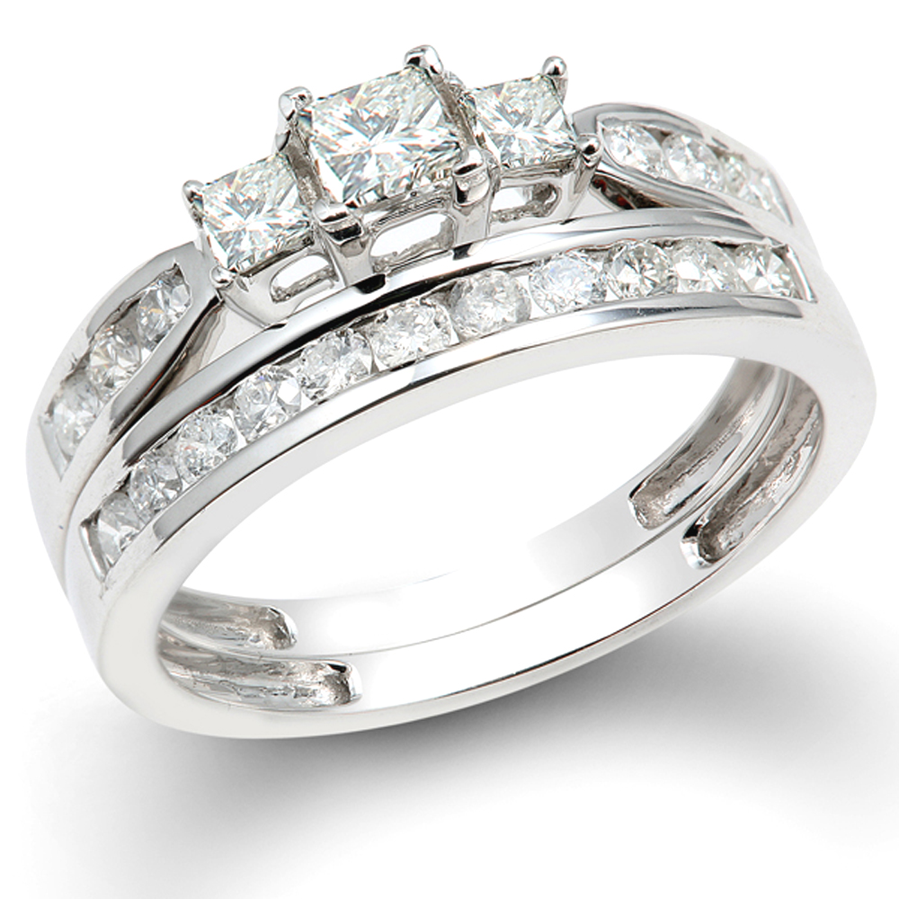 1.00 Carat (ctw) 14k White Gold Princess & Round 3 Stone Diamond Ladies Bridal Ring Set Engagement Set 1 CT