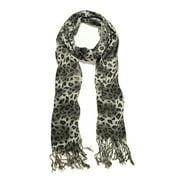 Elegant Leopard Animal Print Scarf with Fringe