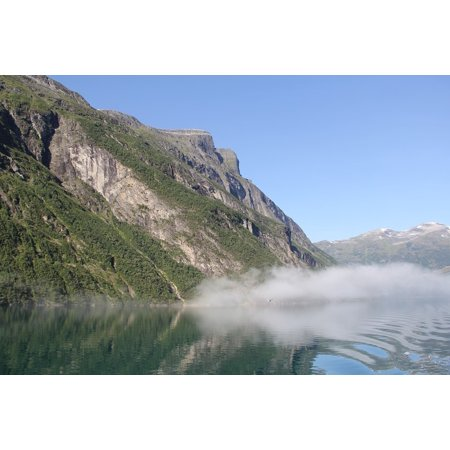 Canvas Print Water Mist Holiday Norway Morning Fjord Boat Stretched Canvas 10 x 14