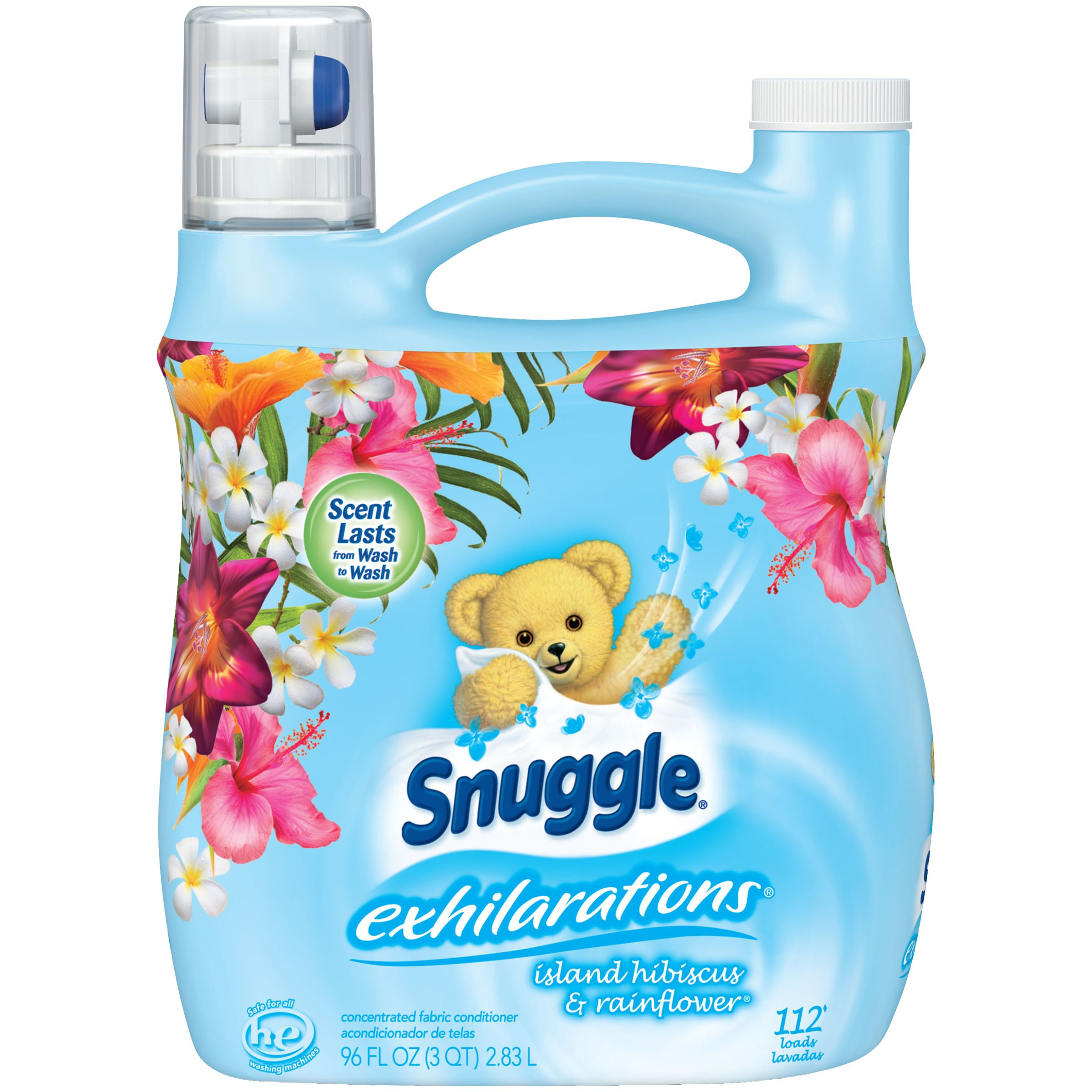 Snuggle Exhilarations Liquid Fabric Softener, Island Hibiscus & Rainflower, 96 Ounce, 112 Loads