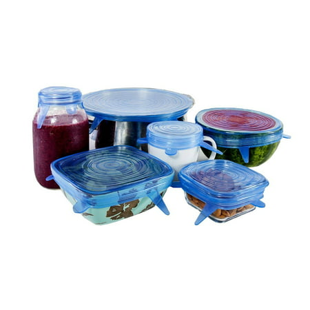 Kitchen + Home Silicone Stretch Lids - Set of 6 Silicone Food Saver Covers - BPA Free, Dishwasher, Microwave, & Oven Safe