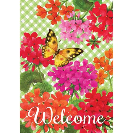 Custom Decor Garden Flag - Gingham Geraniums](Cheap Custom Flags)