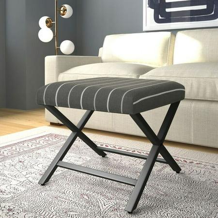 Pattern Upholstered Ottoman - HomePop Modern Metal X-base Upholstered Ottoman, Multiple Colors