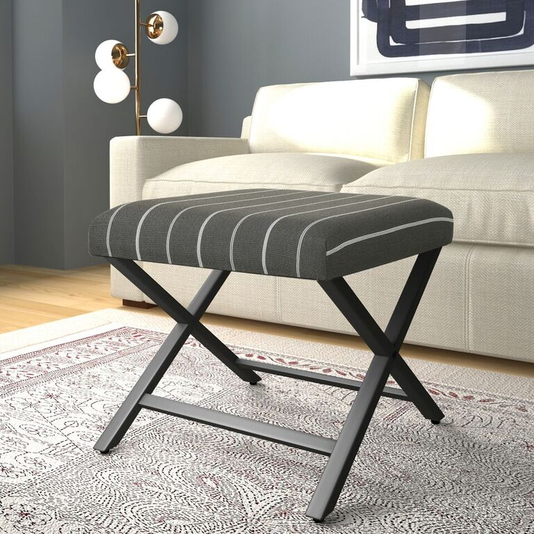 HomePop Modern Metal X-base Upholstered Ottoman, Multiple Colors