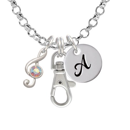 Ab Crystal Clip (Medium Clef with AB Crystal - A - Initial Badge Clip)