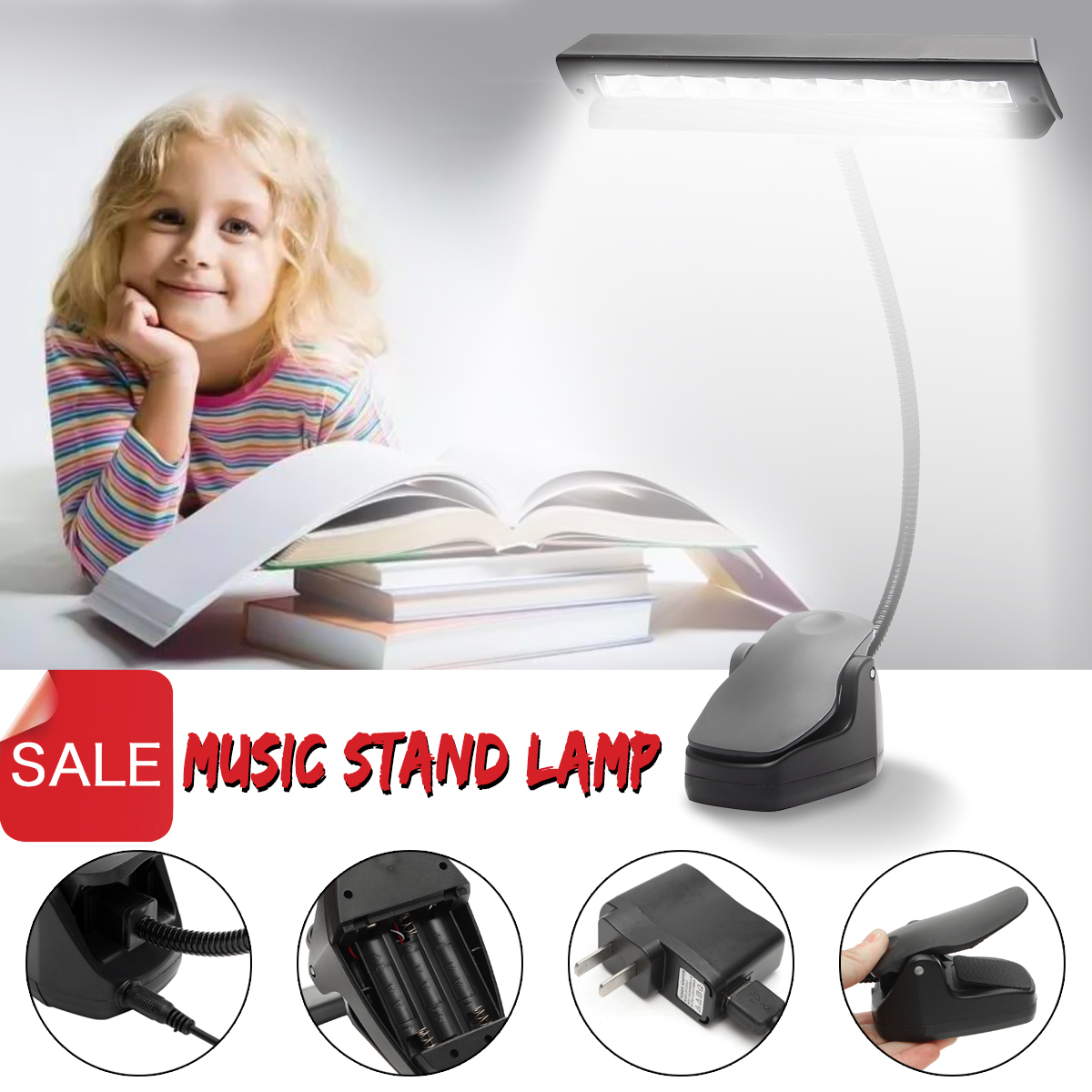 9 LED Clip-on Music Stand Clamp Night Light Bed Table Desk Reading Lamp US Plug by