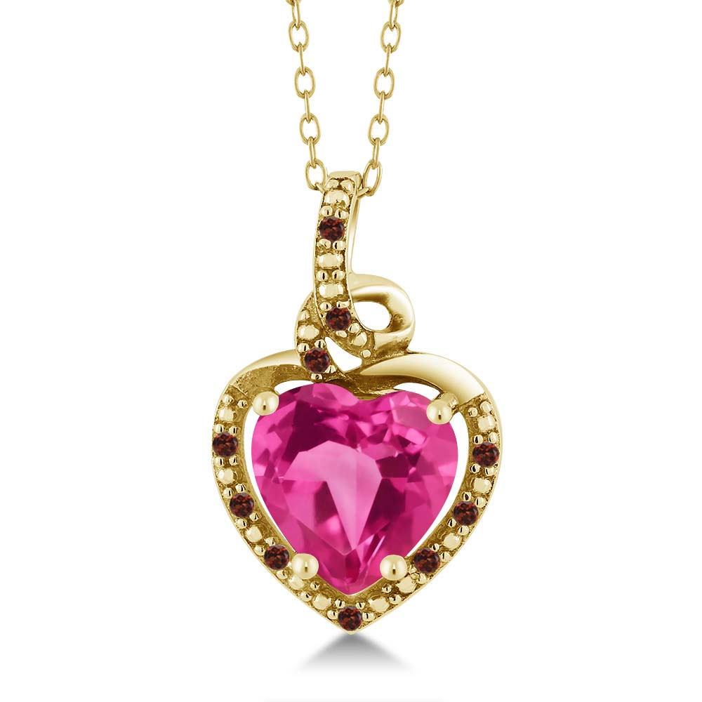 1.88 Ct Heart Shape Pink Created Sapphire Red Garnet 14K Yellow Gold Pendant by
