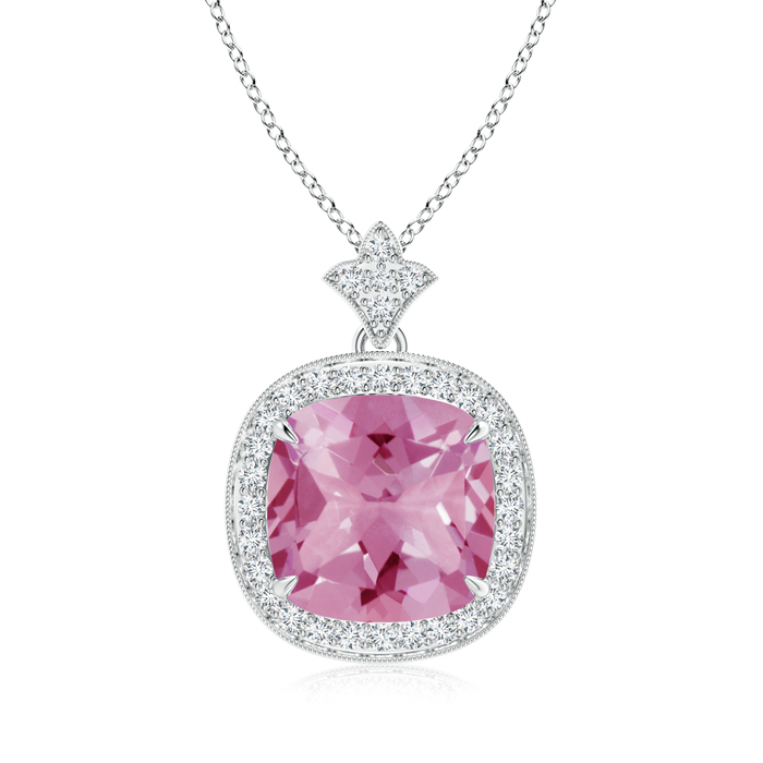 Mother's Day Jewelry Necklace Claw Set Pink Tourmaline Diamond Pendant with Milgrain Detailing in 950 Platinum (10mm... by Angara.com