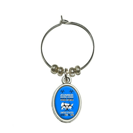 United States Zombie Hunting License Blue Permit Oval Wine Glass Charm (United States Sparkling Wine)