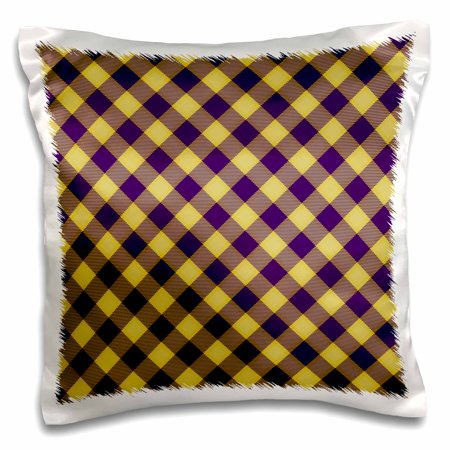 3dRose Purple and Gold LSU Tartan Dark purple and yellow - Pillow Case, 16 by 16-inch