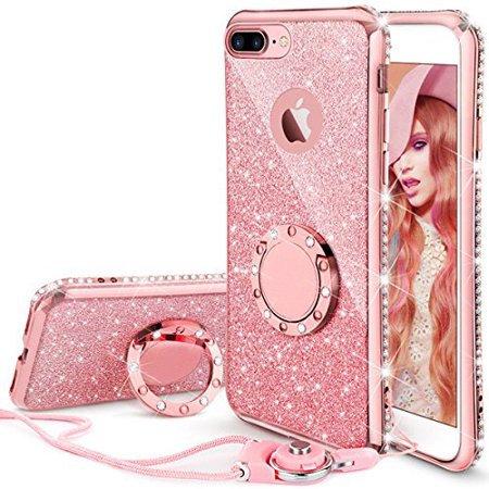 big sale d0f00 93f5d iPhone 7 Plus Case, iPhone 8 Plus Case, Glitter Cute Phone Case Girls with  Kickstand, Bling Diamond Rhinestone Bumper Ring Stand Protective Pink ...