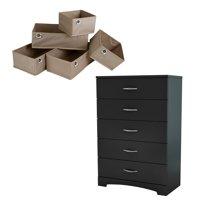 South Shore SoHo Pure Black 5-Drawer Chest & Organizers