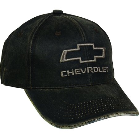 Men's Chevrolet Weathered Cap with Camo Under Visor, Brown/Realtree Edge, Chevy