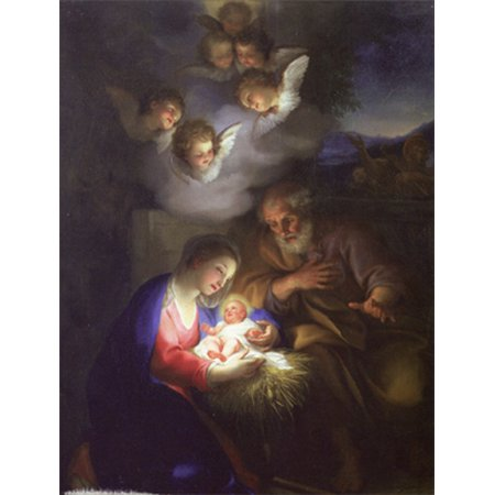 Religious Christmas.Designer Greetings Angels Watching Over Baby Jesus Religious Christmas Card