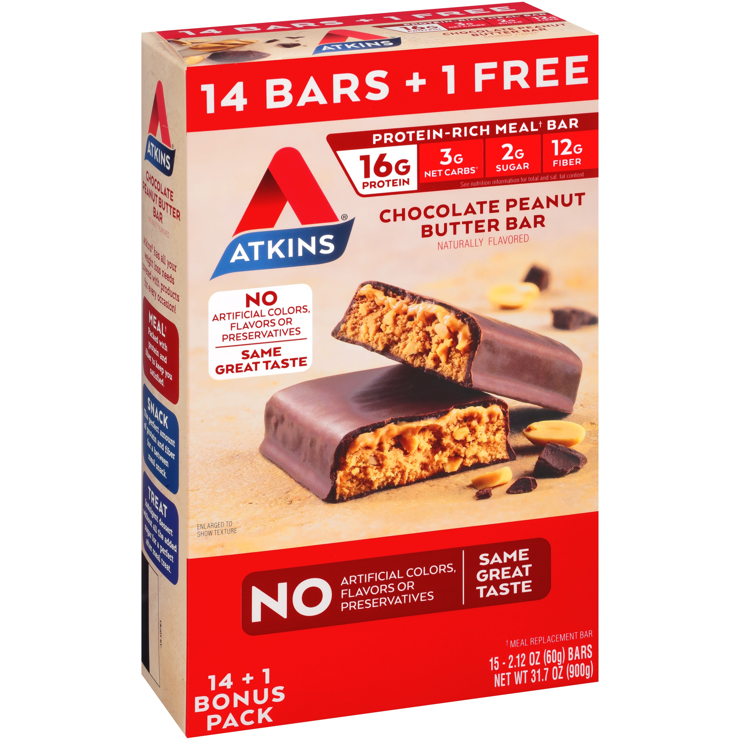 Atkins® Chocolate Peanut Butter Meal Replacement Bar 15-2...