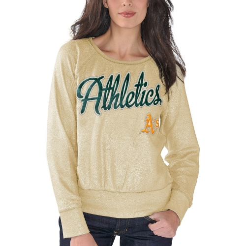 Oakland Athletics G-III 4Her by Carl Banks Women's Cover 2 Crew Neck Sweater - Gold