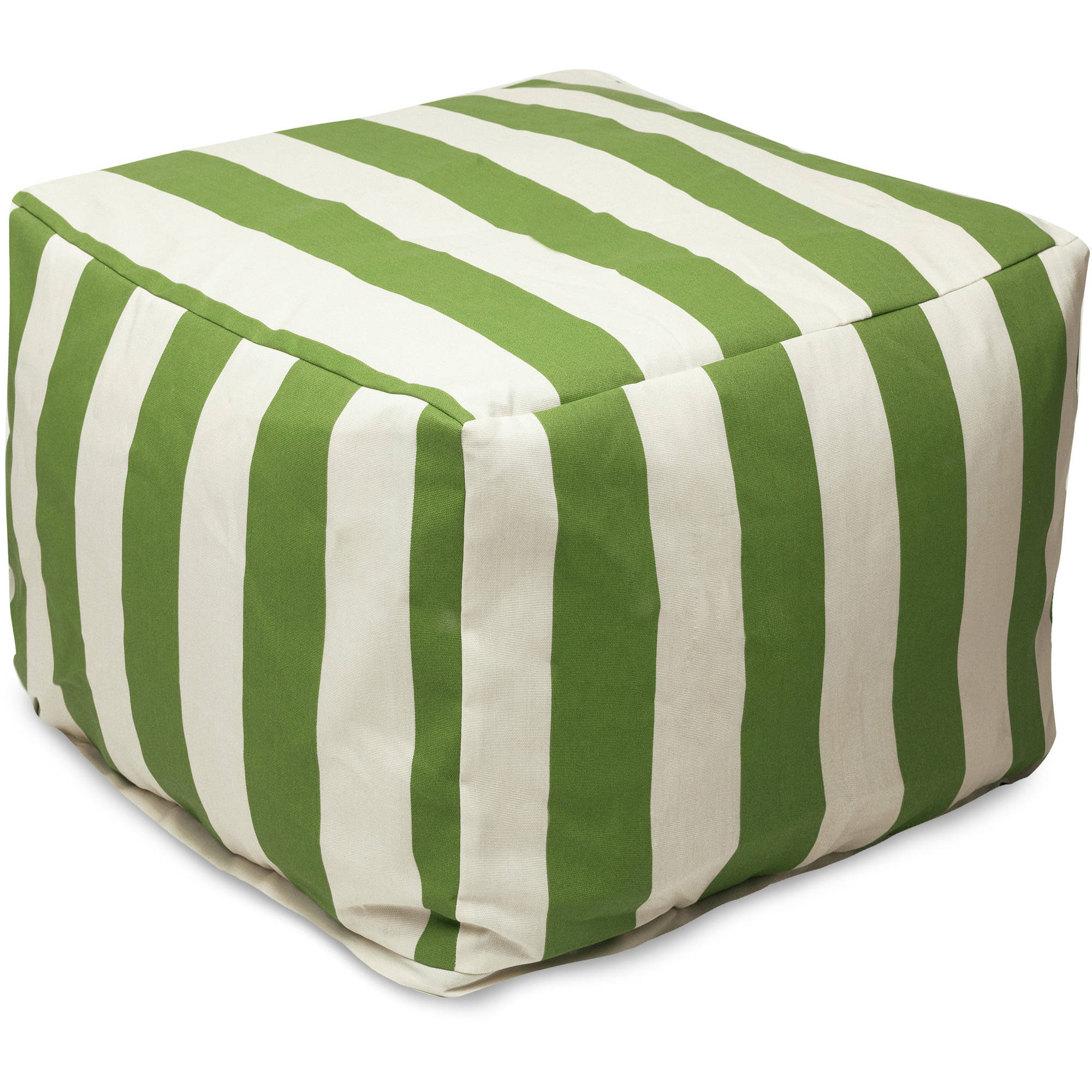 Majestic Home Goods Vertical Stripe Bean Bag Ottoman, Indoor/Outdoor
