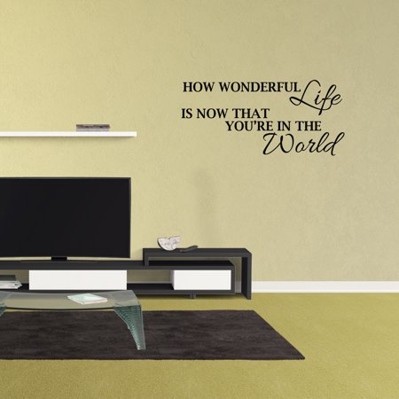 Wall Decal Quote How Wonderful Life Is Now That You're In The World Vinyl Nursery Decor - Now That Halloween Is Over Quotes