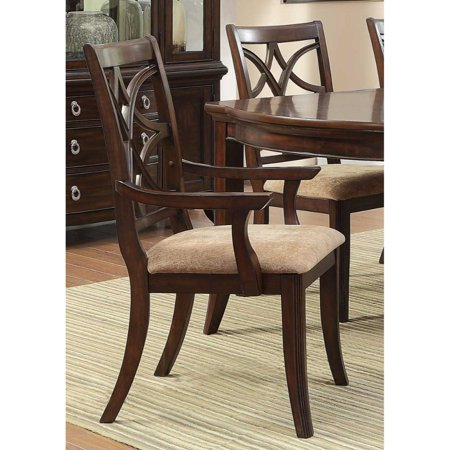 Solid Wooden Arm Chair With Beige Fabric Seat, Cherry Brown & Beige (Set Of 2) ()