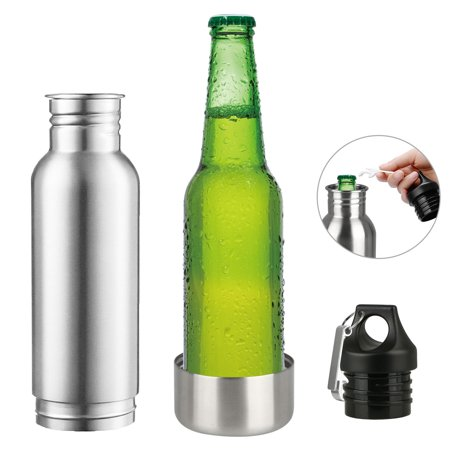 Stainless Steel Beer Bottle Holder Bottle Opener Insulator within Bottle Keeps Beer Cold, FitS Most 12OZ Beer Bottles (Personalized Coozies)