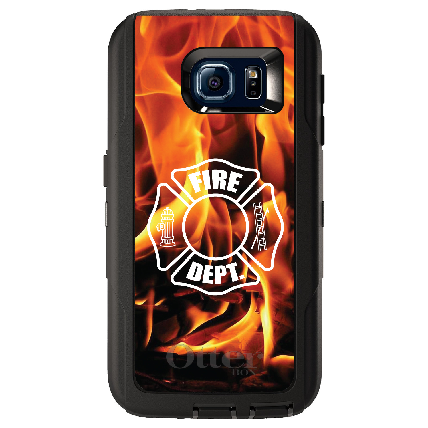 DistinctInk™ Custom Black OtterBox Defender Series Case for Samsung Galaxy S6 - Flames Fire Department