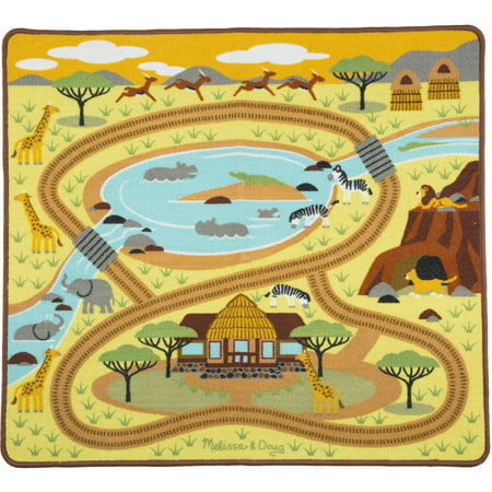 36 Round Hooked Rug - Melissa and Doug Round the Savanna Safari Activity Rug, 39