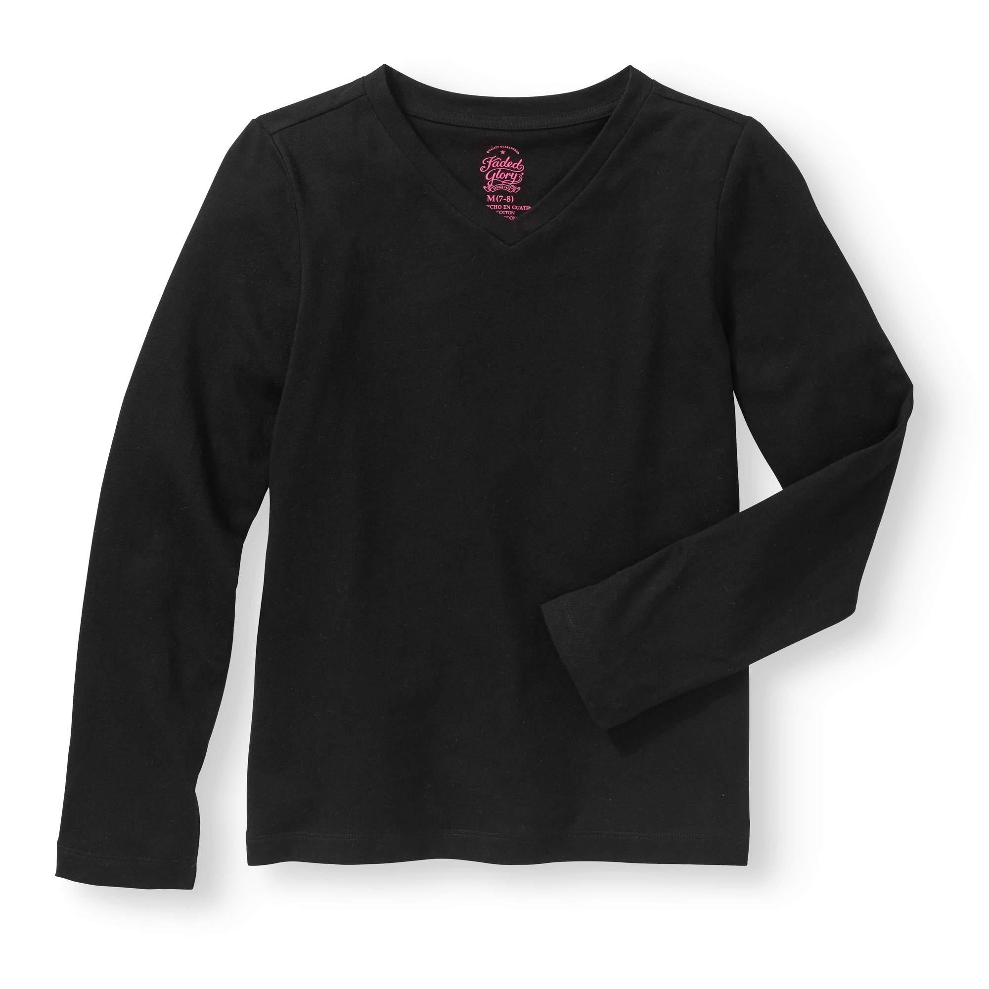 Girls' Long-Sleeve V-Neck T-Shirt