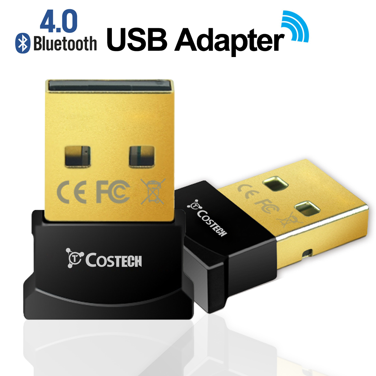 Costech Bluetooth 4.0 USB Adapter Gold Plated Micro Dongle 33ft/10m Compatible with Windows 10,8.1/8,7,Vista, XP, 32/64 Bit for Desktop , Laptop, computers