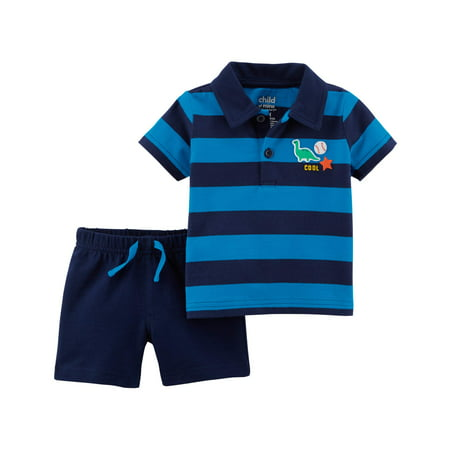 Toddler Boy Polo Shirt & Shorts, 2pc Outfit Set - Toddler Boy Valentine Outfit