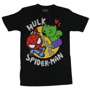 "Marvel Comics Mens T-Shirt -  Hulk vs Spider-man ""Swoosh"" Cutesy Battle Image (Large, Large)"