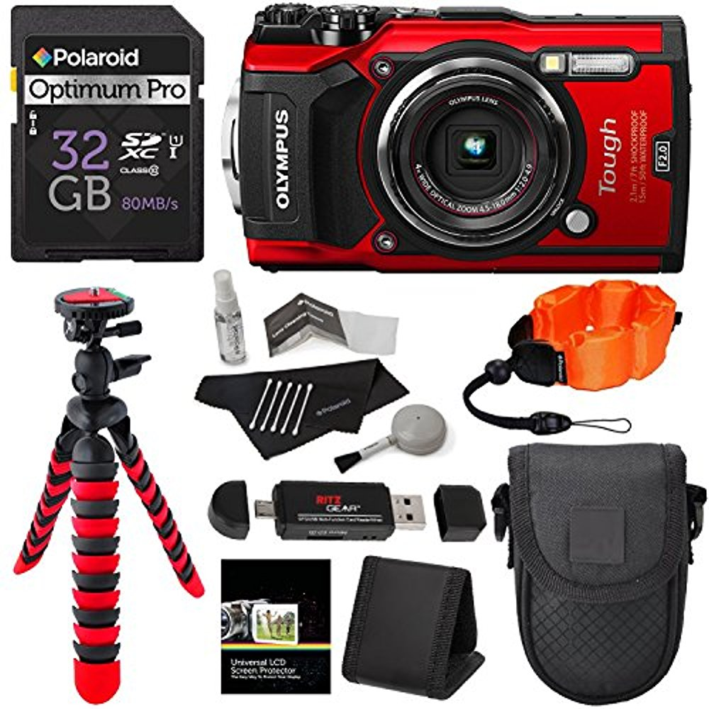 Olympus TG-5 Waterproof Camera with 3-Inch LCD, Red (V104...