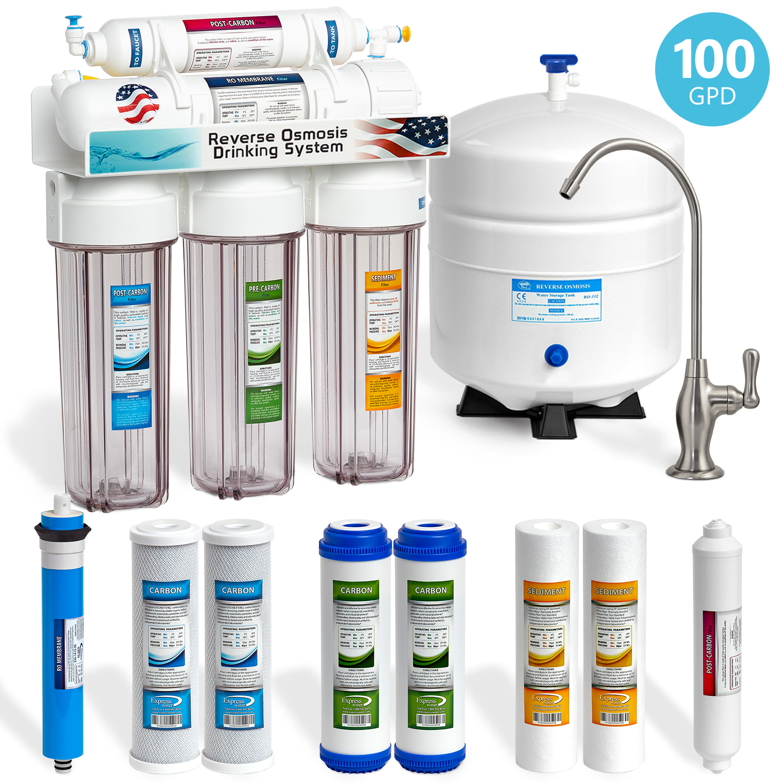Express Water 5-Stage Under Sink Reverse Osmosis RO Drinking Water Filter System, Clear, 100 GPD, Brushed Nickel (Deluxe)