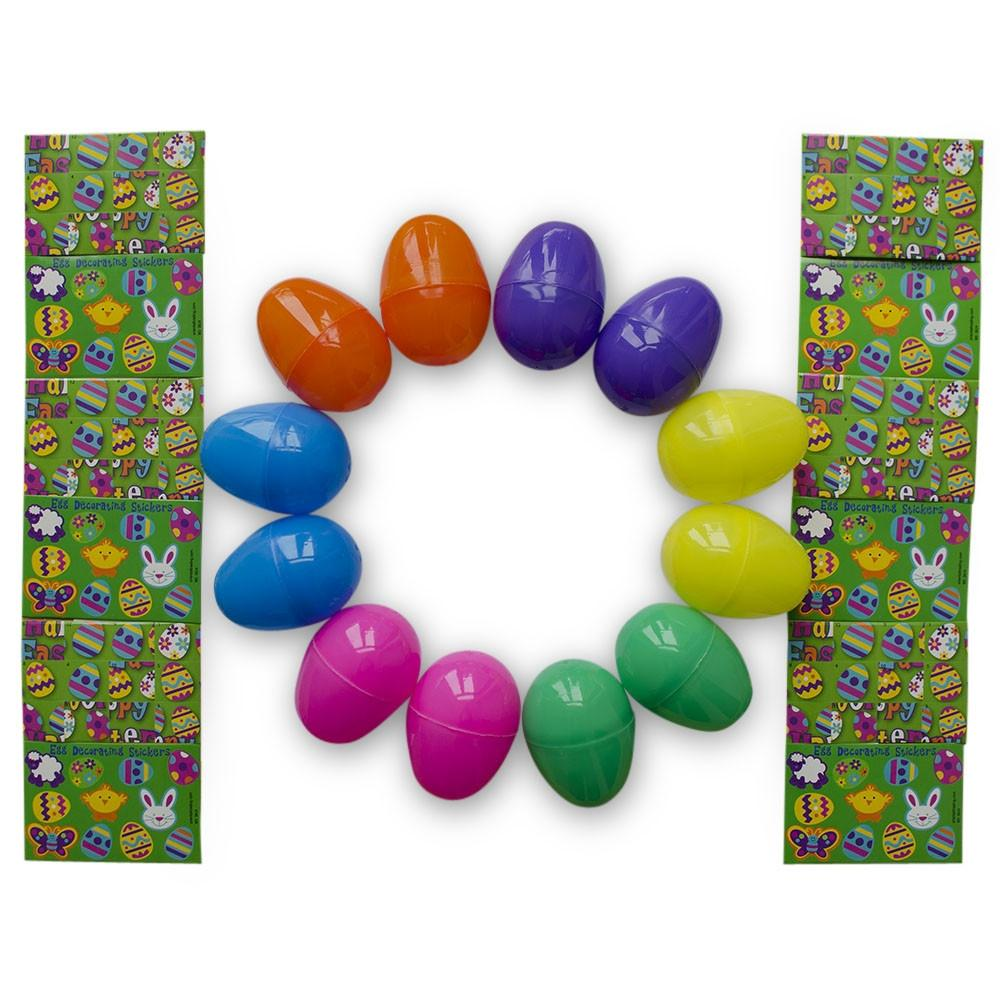 Set of 12 Colorful Sticker Filled Plastic Easter Eggs