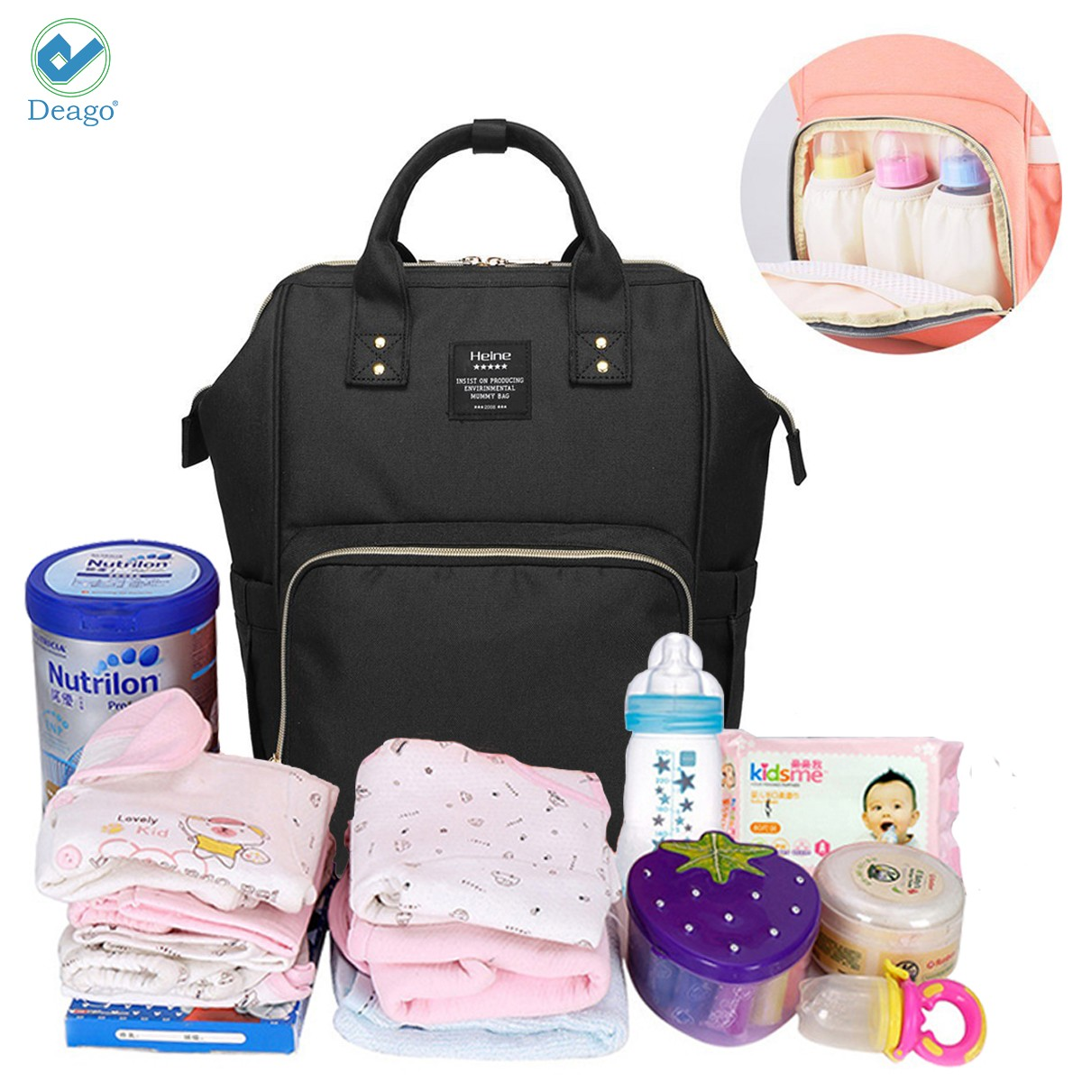 Deago Waterproof Backpack Mummy Bag Baby Water Feeding Bottle Portable Diaper Bag Computer Large Capacity Bag Orange Pink