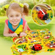 Lady Bug Vehicle Puzzle Track Play Set - Battery Operated Toy Themed Style Vehicle Runs on Interchangeable Puzzle Tracks - Make up to 50 Track Combinations