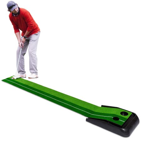 Costway 8FT Golf Practice Putting Mat Training Green Grass Turf Ball Return In/Outdoor (Automatic Return Putting Mat)