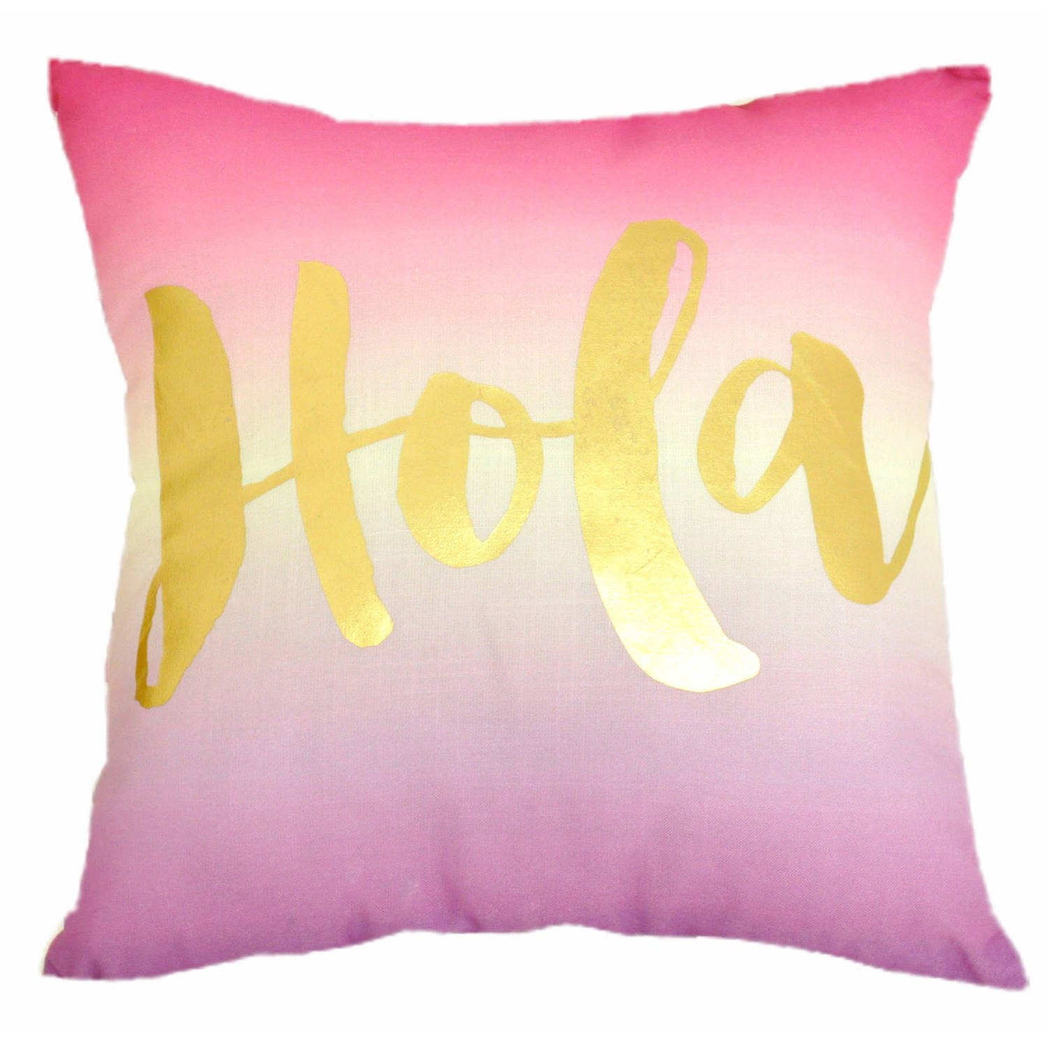Formula Hola Motif Reversible Print Decorative Pillow, Pink and White