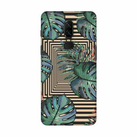 OnePlus 6 Case - Leaves Over Stripes - Coral Green, Hard Plastic Back Cover, Slim Profile Cute Printed Designer Snap on Case with Screen Cleaning Kit