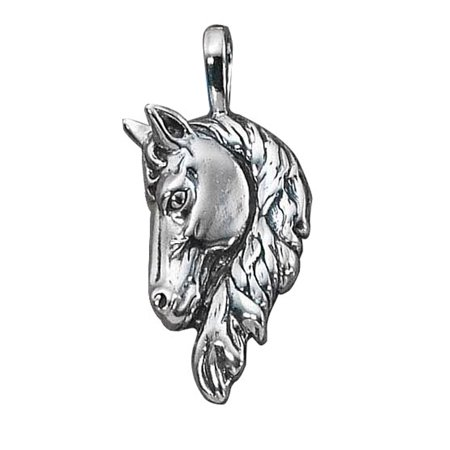 """Sterling Silver 16"""" .8mm Box Chain 3D Large Frontal Horse Head Pendant Necklace"""