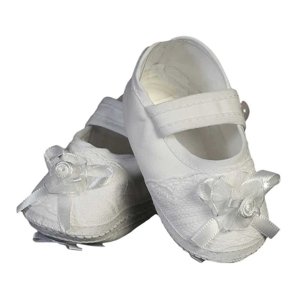 Baby Girls White Cotton Christening Bootie Soft Sole Crib ...