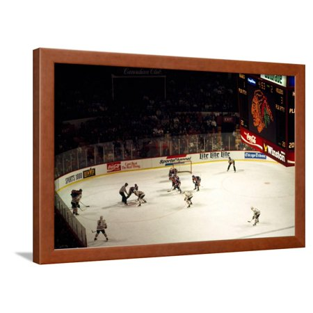 High angle view of ice hockey players in action, Chicago, Cook County, Illinois, USA Framed Print Wall Art