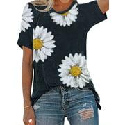 Nlife Women Dasiy Graphic Printed Round Neck Short Sleeve T-Shirt