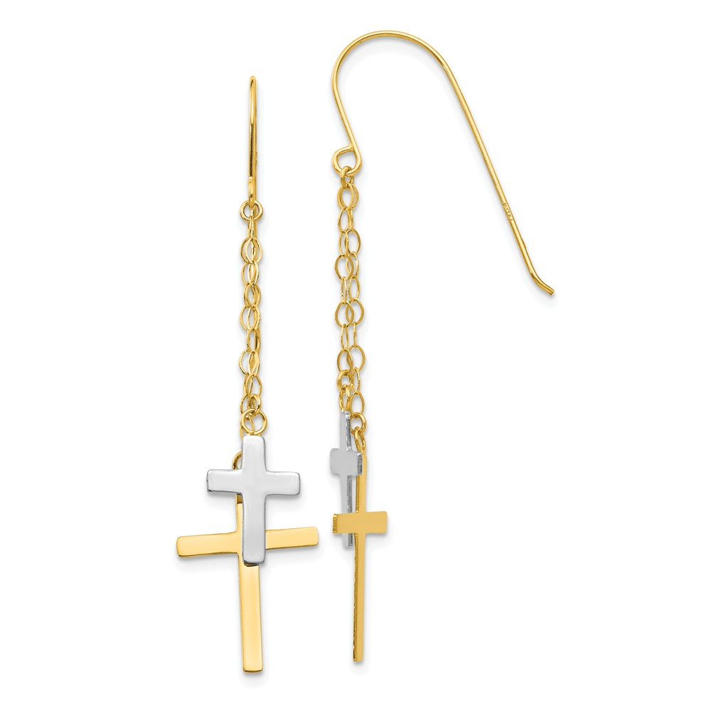 14K Yellow Gold Two-Tone Necklace Chain Dangle Cross Shepherd Hook Earrings (56mm x 12mm)