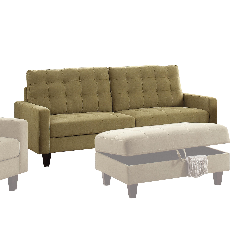 Acme Nate Memory Foam Sofa with Tufting in Mustard Fabric