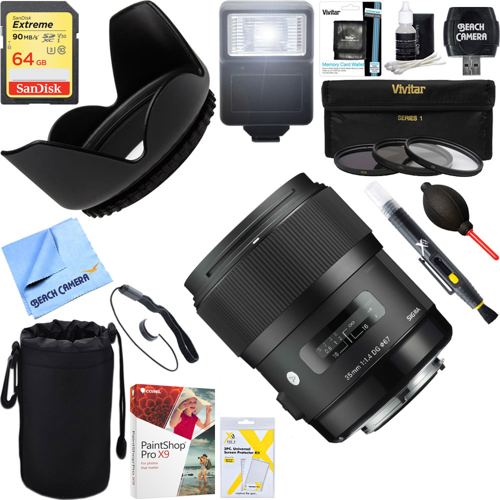 Sigma Art Wide-angle lens AF 35mm F1.4 DG DG HSM Lens for Nikon (340306) + 64GB Ultimate Filter & Flash Photography Bundle