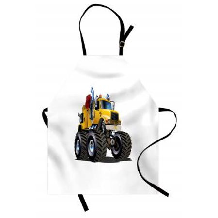 Truck Apron Illustration of a Giant Wheeled Monster Truck Mechanic Beast Emergency, Unisex Kitchen Bib Apron with Adjustable Neck for Cooking Baking Gardening, Burgundy Yellow Black, by (Mechanix Apron)