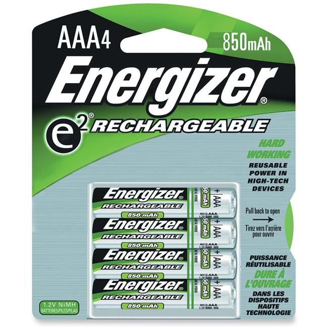 Energizer EVENH12BP4CT Rechargeable 850 mAh AAA Batteries, Multi Color by Energizer