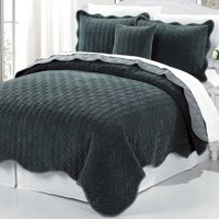 Diamond Square Quilted 4 Piece Coverlet Bed Set Balsam Green Queen